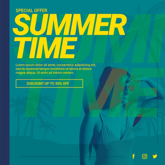 Modelo de banner da web com o conceito de verão Psd grátis