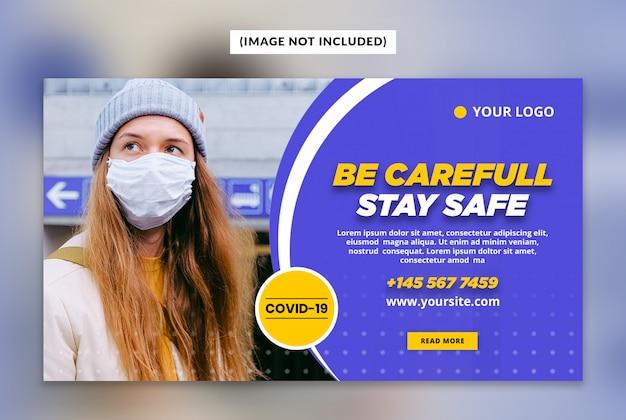 Modelo de banner da web coronavírus ou covid-19 Psd Premium