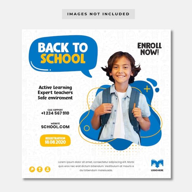 Modelo de banner de admissão de educação escolar Psd Premium