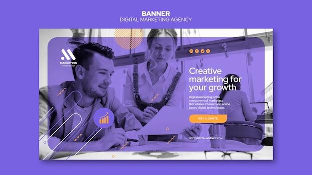 Modelo de banner de agência de marketing digital Psd grátis