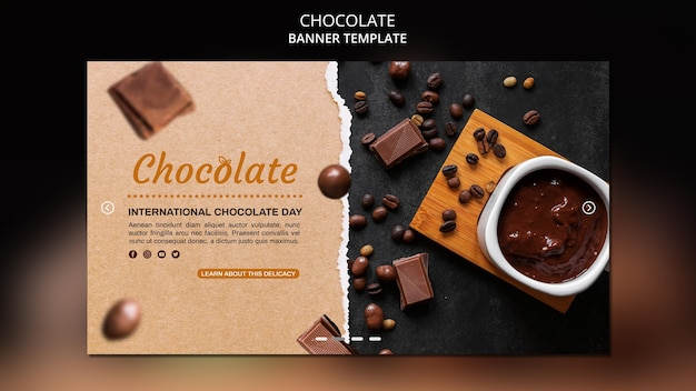 Modelo de banner de anúncio de loja de chocolates Psd grátis