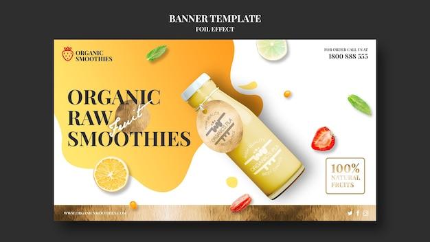Modelo de banner de anúncio de smoothies orgânicos Psd grátis