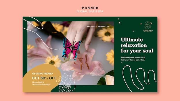 Modelo de banner de anúncio de spa floral Psd grátis