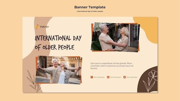 Modelo de banner de anúncio do dia internacional dos idosos Psd grátis