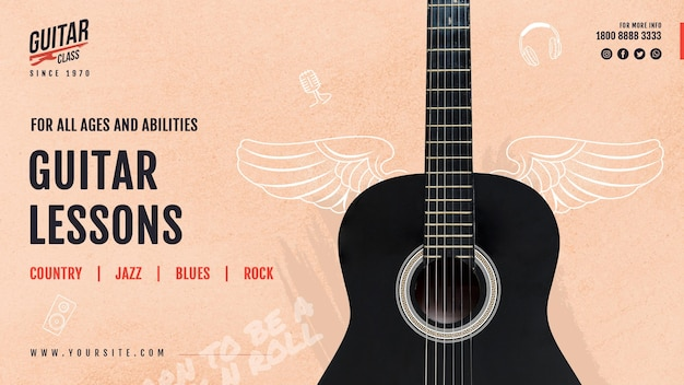 Modelo de banner de aulas de guitarra Psd grátis