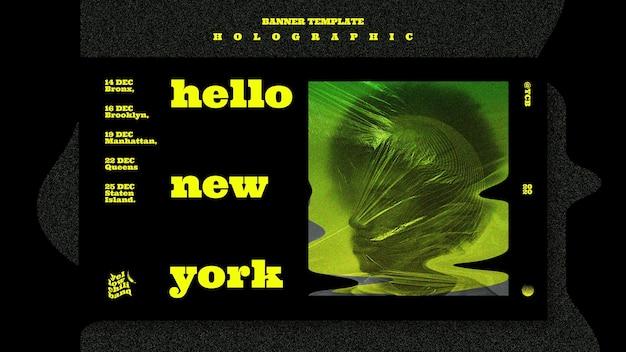 Modelo de banner de banda de música holográfica Psd grátis