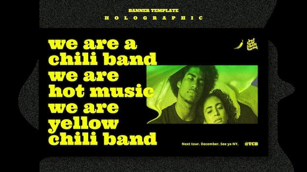 Modelo de banner de banda de música holográfica Psd Premium
