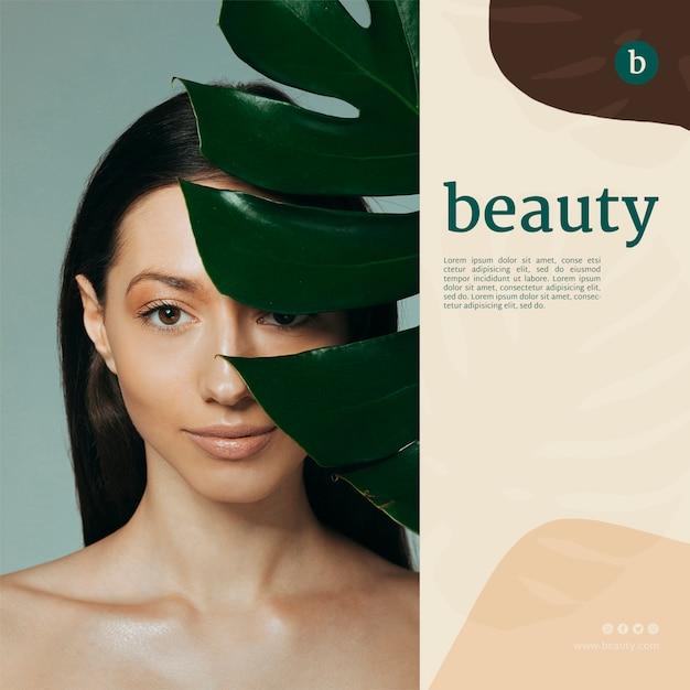 Modelo de banner de beleza com uma mulher Psd grátis