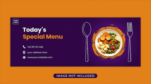 Modelo de banner de capa de facebook de promoção de menu de comida Psd Premium