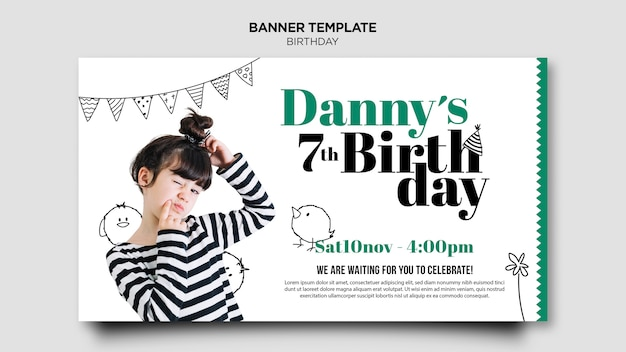 Modelo de banner de cartão de convite de aniversário Psd Premium