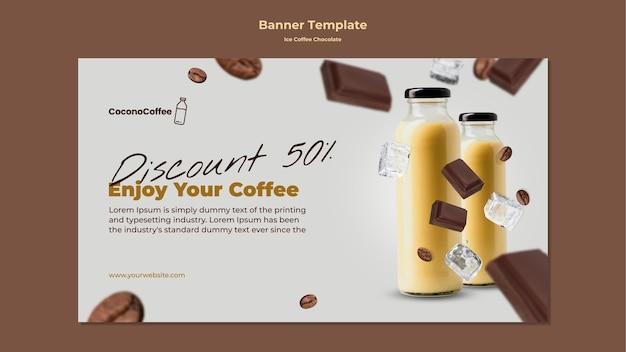 Modelo de banner de chocolate e café gelado Psd grátis