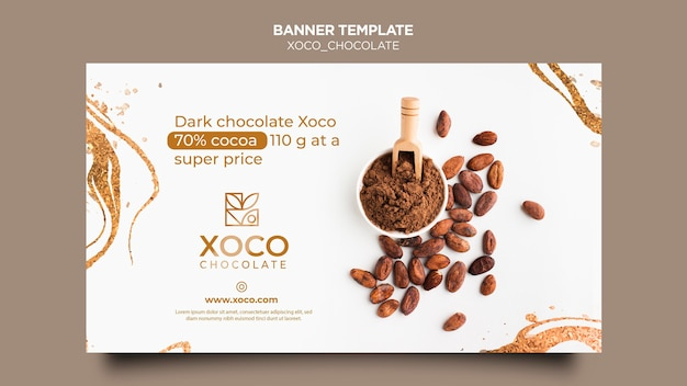 Modelo de banner de chocolate xoco Psd grátis