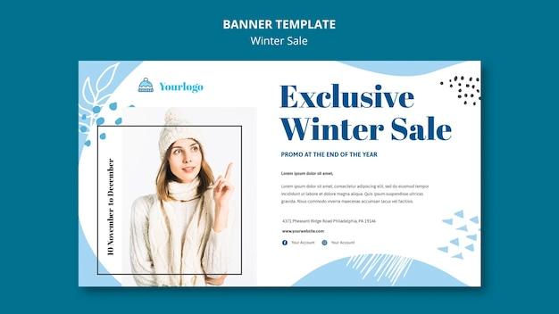 Modelo de banner de coleção de venda de inverno Psd Premium