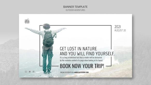Modelo de banner de conceito de aventuras ao ar livre Psd grátis