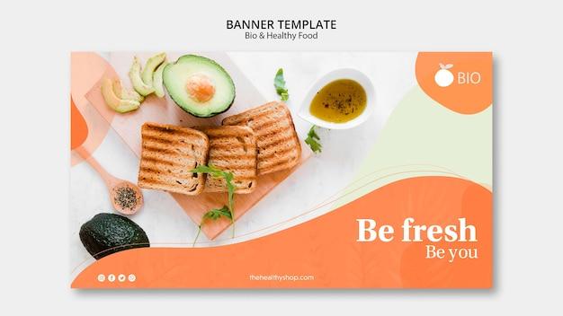 Modelo de banner de conceito de comida saudável e bio Psd grátis