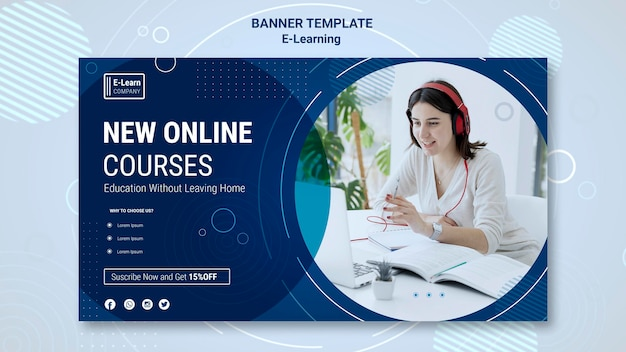 Modelo de banner de conceito de ee-learning Psd grátis