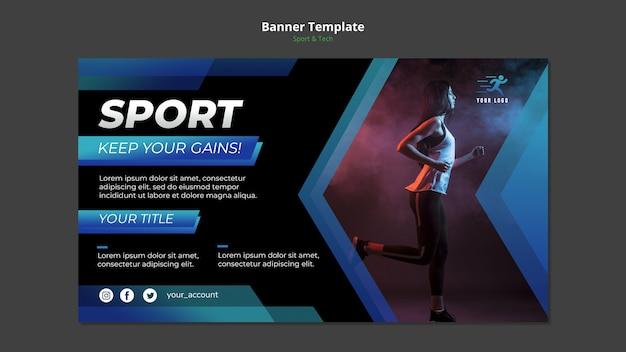 Modelo de banner de conceito de esporte e tecnologia mock-up Psd grátis