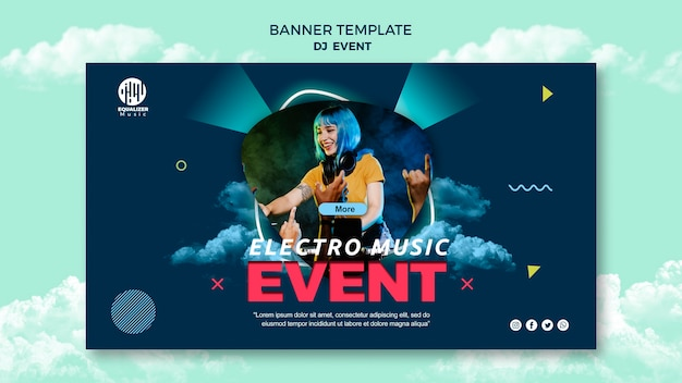Modelo de banner de conceito de festa de música Psd grátis