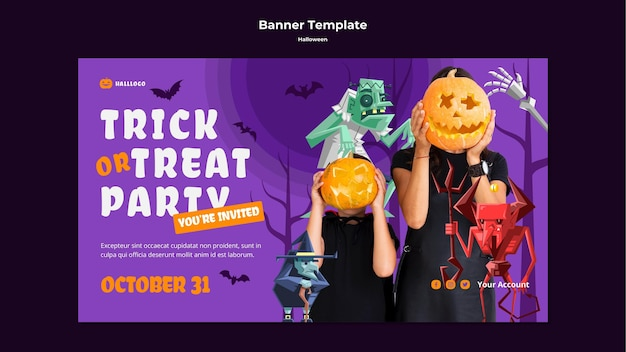 Modelo de banner de conceito de halloween Psd grátis