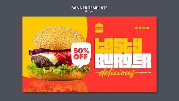 Modelo de banner de conceito de hambúrguer Psd grátis