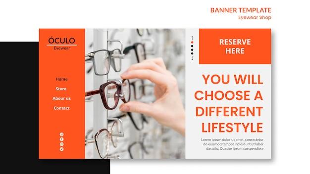 Modelo de banner de conceito de loja de óculos Psd grátis