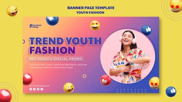 Modelo de banner de conceito de moda jovem Psd grátis