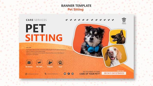 Modelo de banner de conceito de pet sitting Psd grátis