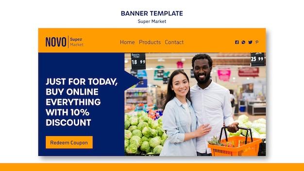 Modelo de banner de conceito de supermercado Psd grátis
