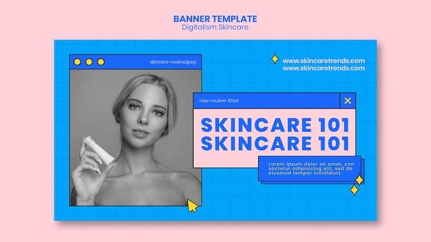 Modelo de banner de cuidados com a pele do digitalismo Psd grátis
