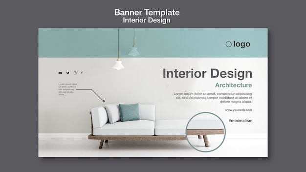 Modelo de banner de design de interiores Psd grátis