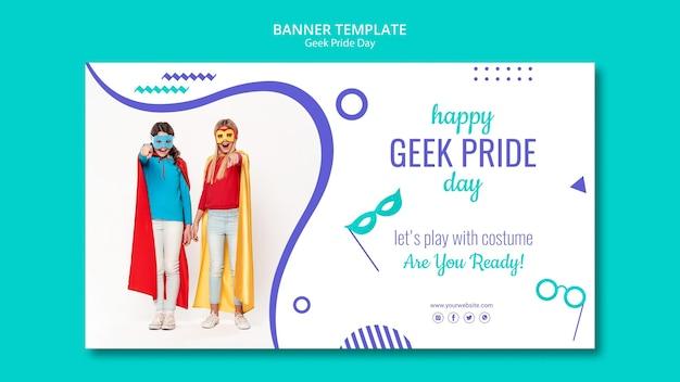 Modelo de banner de dia de orgulho nerd Psd grátis