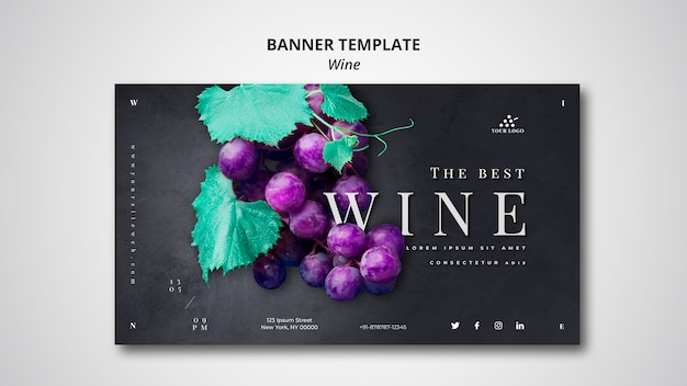 Modelo de banner de empresa de vinho Psd grátis