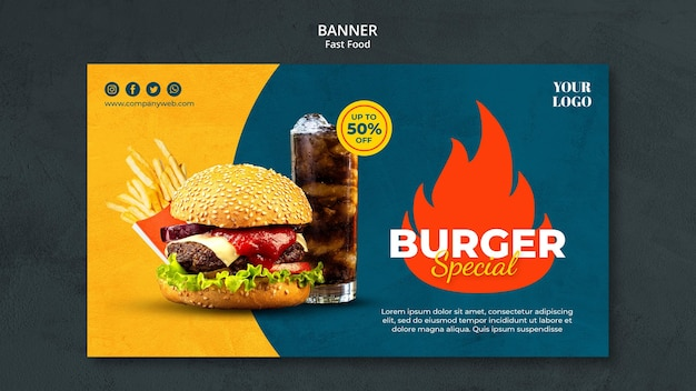 Modelo de banner de fast food Psd grátis