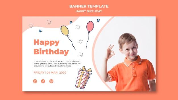 Modelo de banner de feliz aniversário Psd grátis