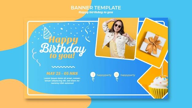 Modelo de banner de feliz aniversário Psd Premium