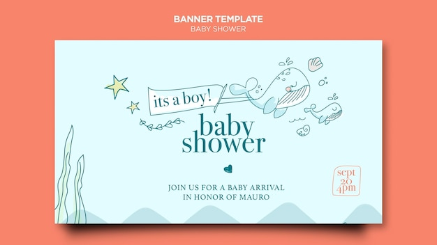 Modelo de banner de festa de bebê Psd grátis