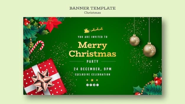 Modelo de banner de festa de natal Psd grátis