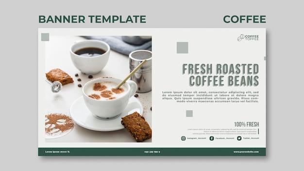 Modelo de banner de grãos de café torrados Psd Premium