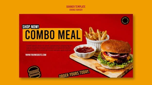 Modelo de banner de hambúrguer grunge Psd grátis