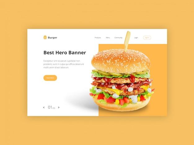 Modelo de banner de herói de hambúrguer Psd grátis