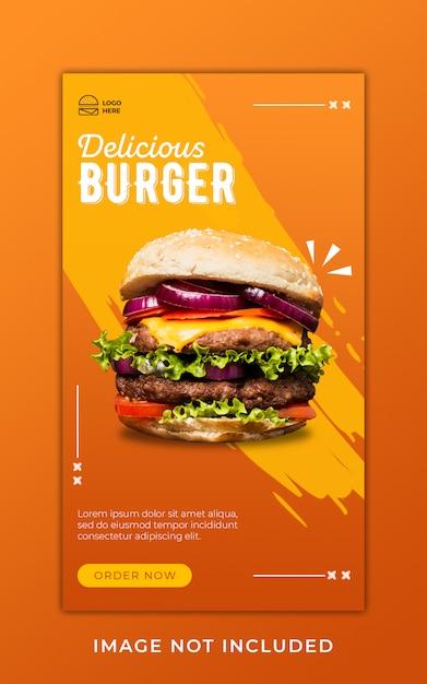 Modelo de banner de histórias de instagram de promoção de menu de comida de hambúrguer Psd Premium
