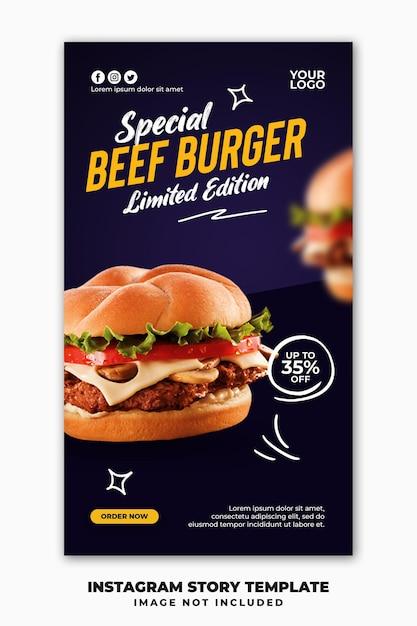 Modelo de banner de histórias do instagram para hambúrguer com menu de fastfood de restaurante Psd Premium