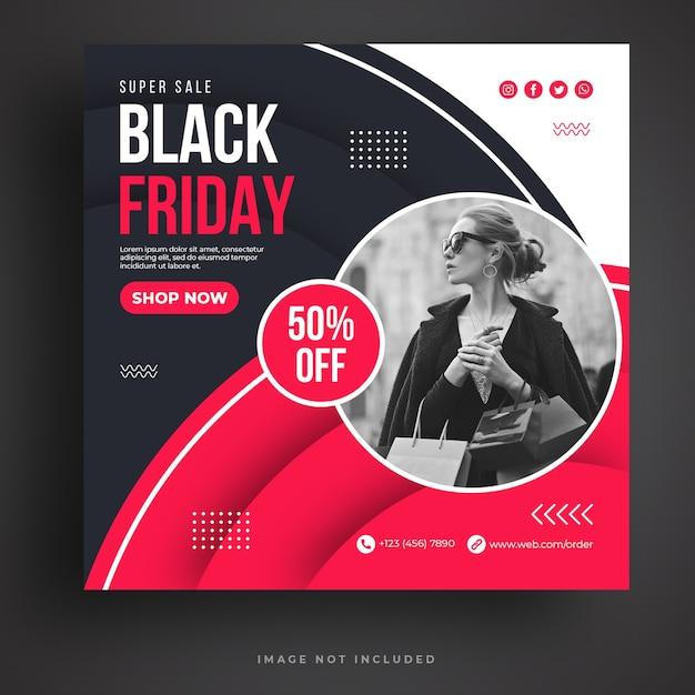 Modelo de banner de mídia social black friday sale Psd Premium