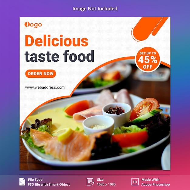 Modelo de banner de mídia social da taste food Psd Premium