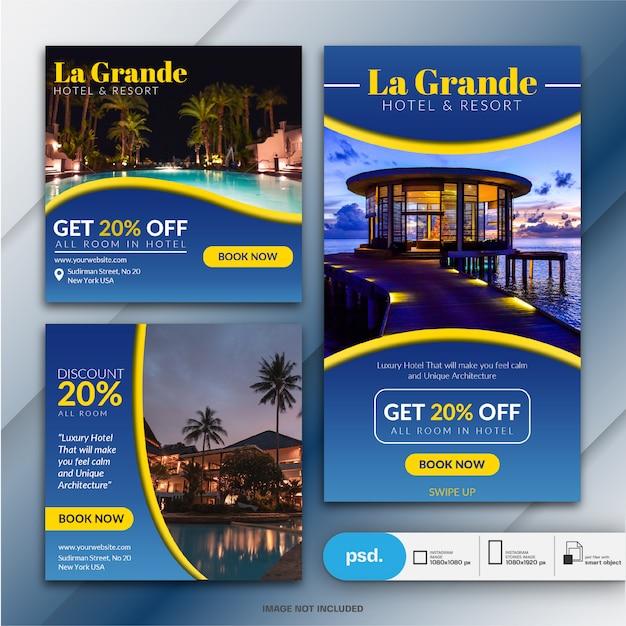 Modelo de banner de mídia social de marketing de negócios de hotel Psd Premium