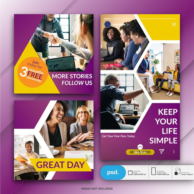Modelo de banner de mídia social de marketing de negócios Psd Premium