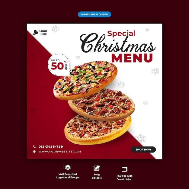 Modelo de banner de mídia social de menu de comida de natal psd premium Psd Premium