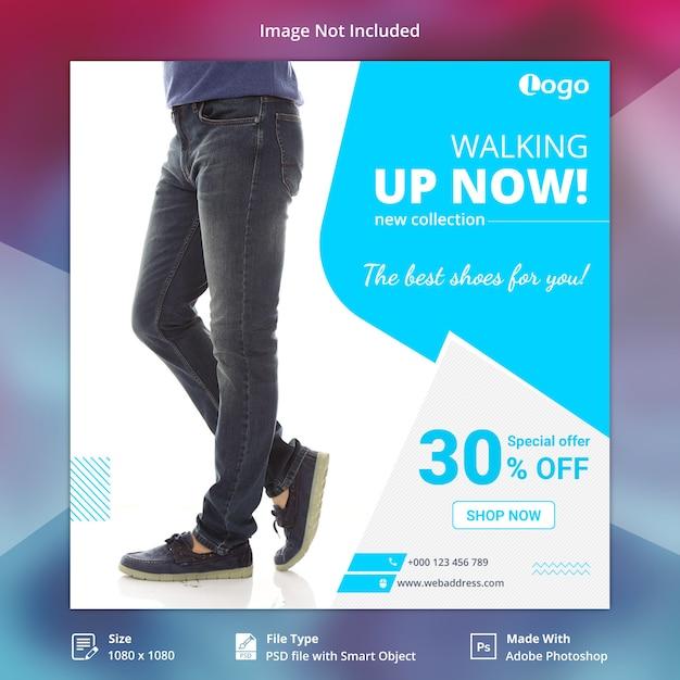 Modelo de banner de mídia social de sapatos Psd Premium