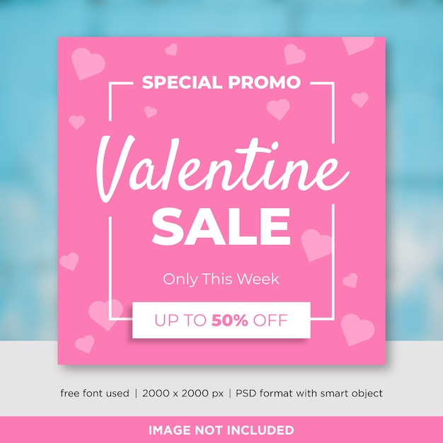 Modelo de banner de mídia social de vendas para dia dos namorados Psd Premium