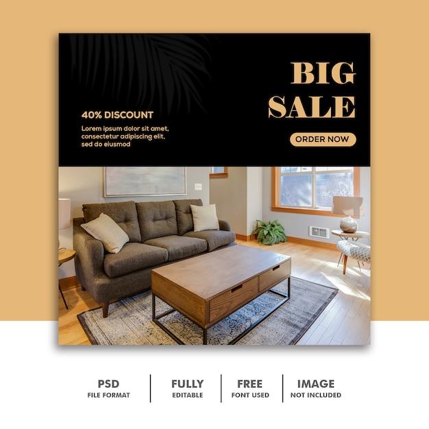 Modelo de banner de mídia social instagram, grande venda de móveis de luxo Psd Premium